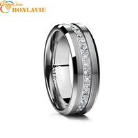 2018 New Arrival Classic Ring For Men Electroplated Sliver Inlaid Acacia Half Frosted Tungsten Ring Man's Wedding Fine Jewelry