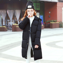 Cotton Girls Long Section of Students Take 2017 Yards of Bread Thick Winter Coat Girl Feather Padded Knee16 Years Old