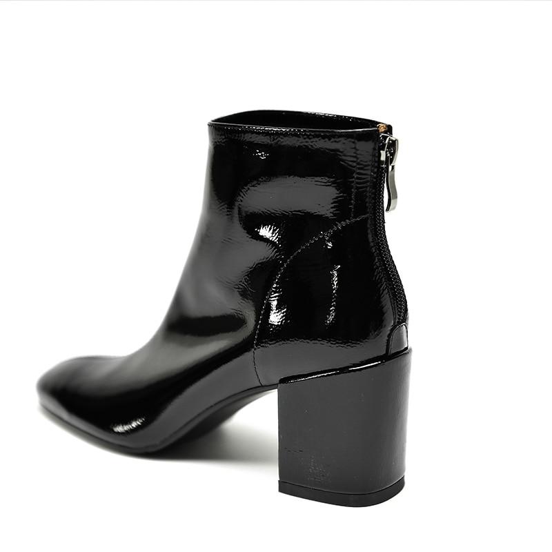 Ayakk.'ten Ayak Bileği Çizmeler'de ISNOM Patent Deri Kadın yarım çizmeler Zip Kare Ayak Ayakkabı Kalın Yüksek Topuklu Kadın Çizme moda ayakkabılar Kadın Bahar 2019 Yeni'da  Grup 2