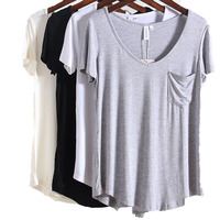 T Gömlek Kadın Beyaz Siyah Kısa Kollu T-shirt Tee Tops yaz Gevşek Pamuk Tişört Kadın Artı Boyutu XXXXL V Yaka Seksi Tops Femme
