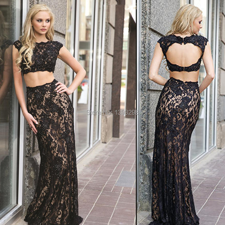Popular Two Piece Black Cap Sleeve Prom Dress-Buy Cheap Two Piece ...