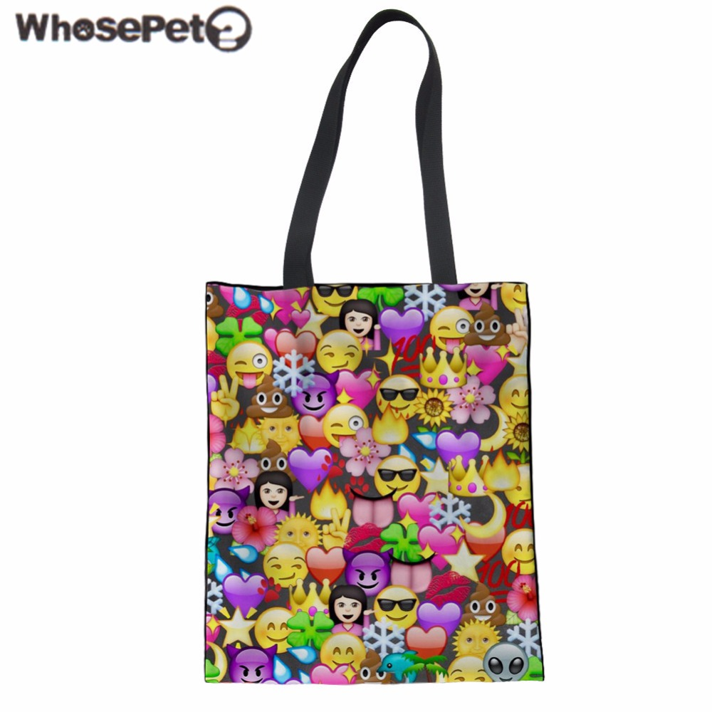 WHOSEPET Women Shoulder Bag Emoji Smiley Face Canvas Handbag Teenager Girls Large Tote Bolsa Fashion Shopping Clutch Mochila New