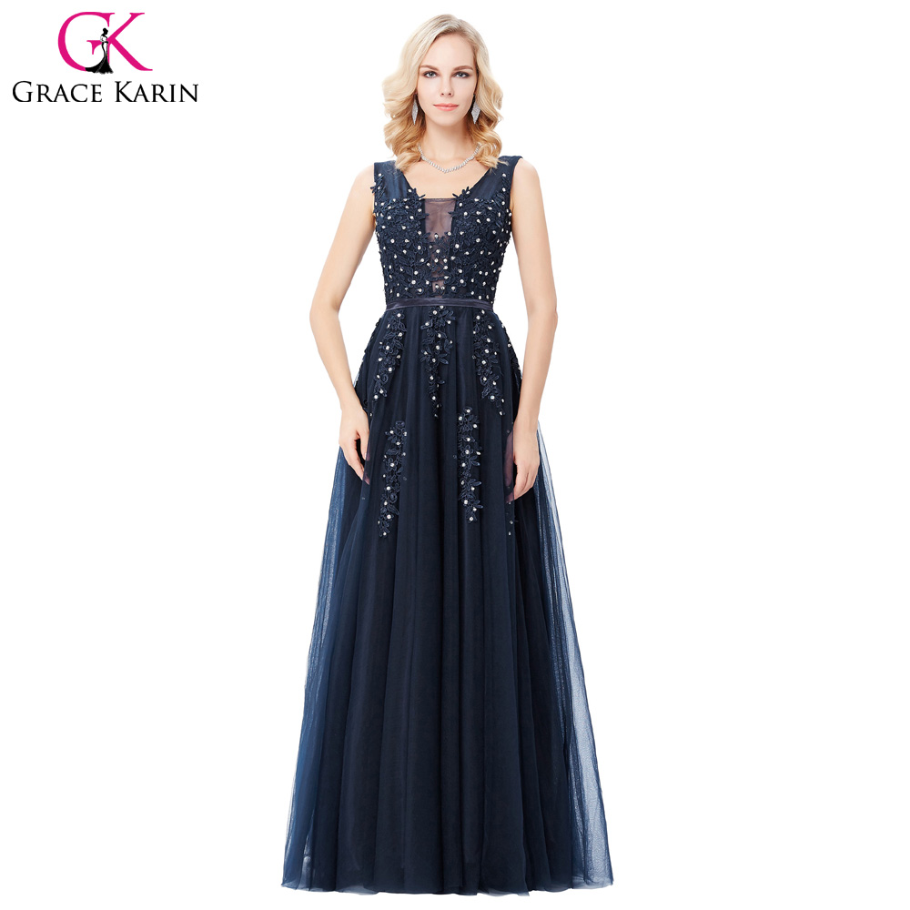 6e4f2a5640 Vestidos de noche Gracia Karin V Profundo Volver Azul Gris Largo Sin  Espalda Vestido de Tul de Noche Formal del vestido de Bola Piso Longitud  Vestido de ...