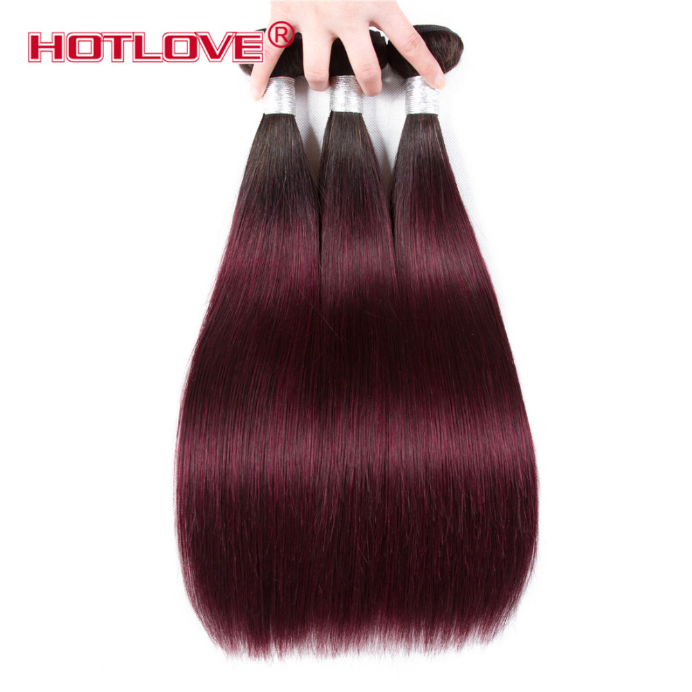 Hotlove Brazilian Hair 3 Bundles Ombre Color 1B/99j Non-remy Human Hair Extensions Ombre Dark Roots Straight Hair Weave Bundles