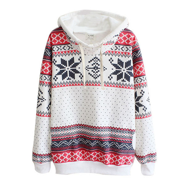 Spring Autumn Women Xmas Snowflake Sweatshirt Hoodies Top Sweatshirt Fleece Pullover