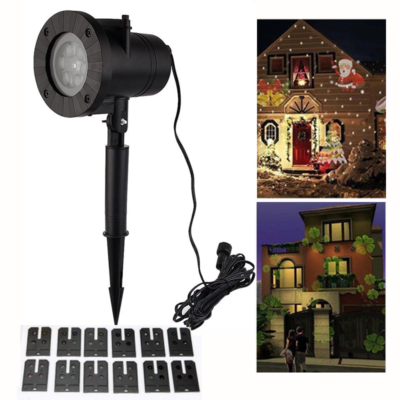 12 Patterns 6W Christmas Laser Snowflake Projector Lamp Outdoor LED - Holiday Lighting