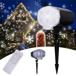 Led projetor a laser de neve ao ar livre lâmpada do projetor de neve ip65 à prova dip65 água natal jardim ano novo floco de neve luz