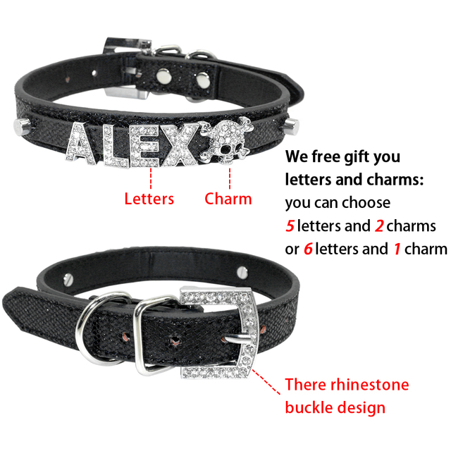 Bling Personalized Pet Dog Collar Rhinestone Customized Free Name Diamond Bucklet XS S M L