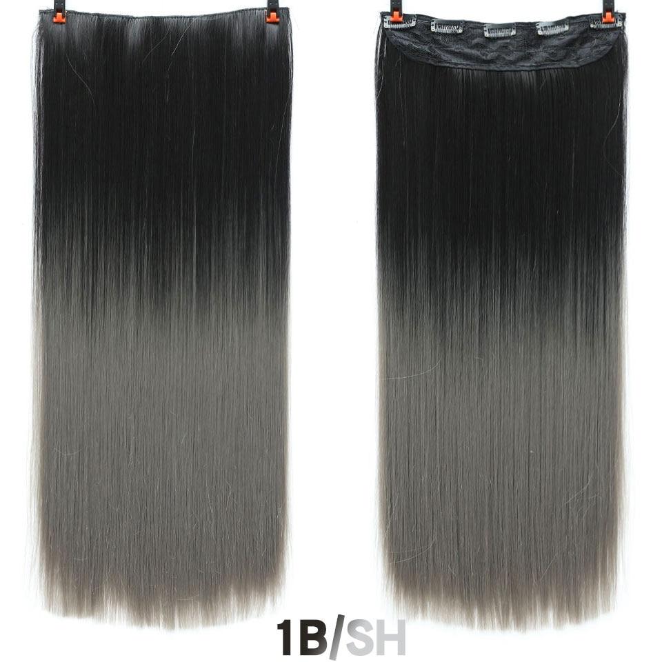 SHANGKE волосы 24 ''длинные прямые женские волосы на заколках для наращивания черный коричневый высокая температура Синтетические волосы кусок - Цвет: 1B #/27 #