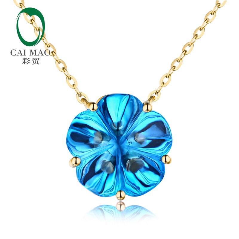 Caimao 10 43ct IF Flower Shape Topaz 18kt Yellow Gold Engagement Necklace Pendant