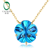 Caimao 10.43ct IF Flower Shape Topaz 18kt Yellow Gold Engagement Necklace Pendant
