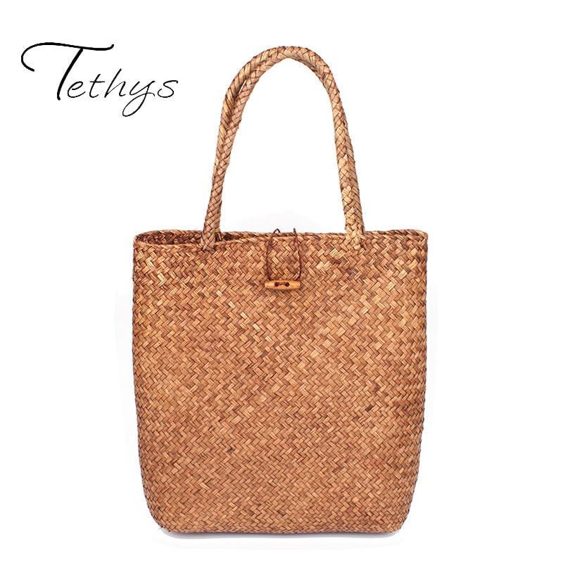 Women rattan Handbags Shopping Bags 2017 Beach Bag for Summer Big Straw Bags Handmade Woven Tote bag Luxury Designer sac a main
