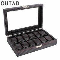 OUTAD 12 Sloty Fashion Drewniane Zegarki Box Włókno Węglowe Siatki Wzór Zegarka Pudełka Do Przechowywania Gablocie Prezent Dla Przyjaciół