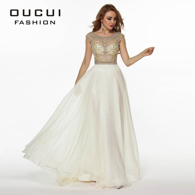 Real Photo Nude Color Tulle Chiffon Fabric See Through Beading Handwork  Long Prom Dress OL102363 9b4b3bb26cff
