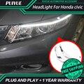 PUIYUE стайлинга Автомобилей Freeshipping Новости 9600Lm Для 2012-2014 Civic Фары Автомобиля Angel Eyes LED Бровей Дневного Света
