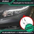 PUIYUE Car styling Freeshipping News 9600Lm For 2012-2014 Civic Car Headlight  Angel Eyes LED Eyebrow Daytime Running Light