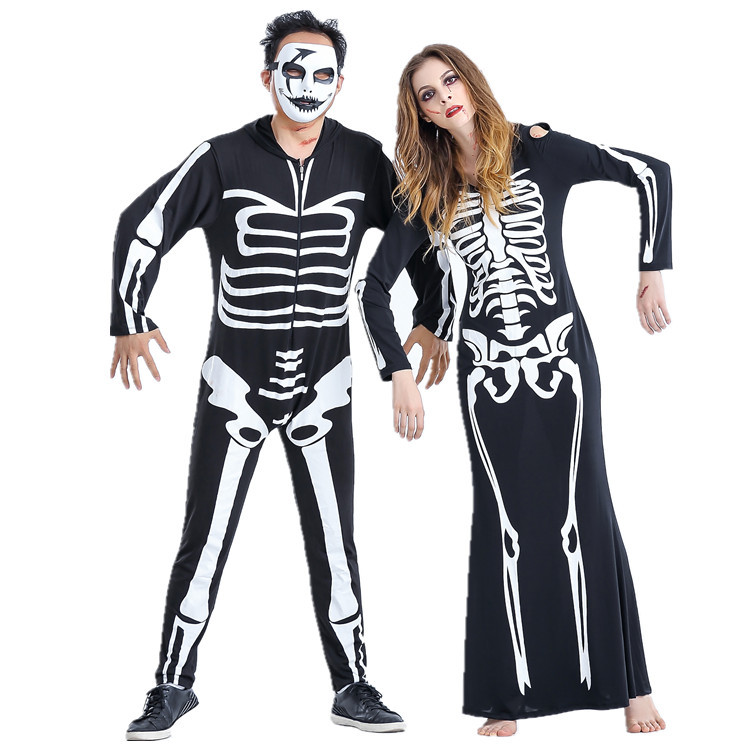 Couple Skeleton Halloween Costume Fancy Dress One piece ...  sc 1 st  Family Pops Store! : couples adult halloween costumes  - Germanpascual.Com