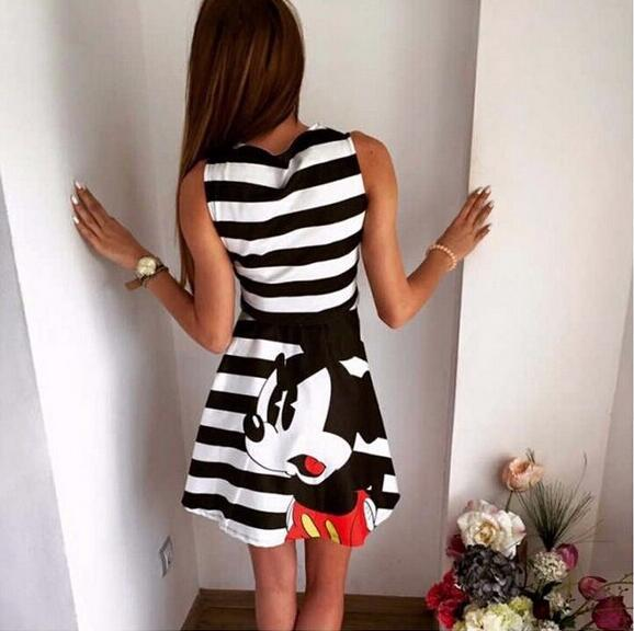 2017 summer new fashion women mouse pattern print dress casual o-neck sleeveless striped letters printed dresses Vestidos