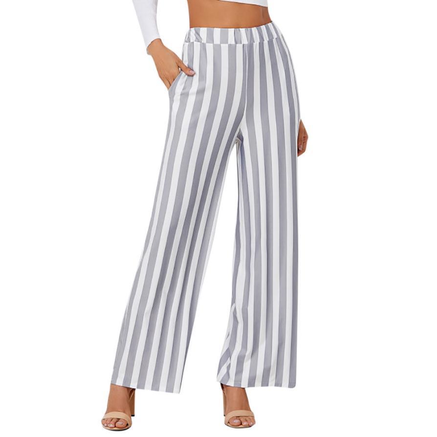 #4 Women Casual New Fashion Stripe Print   Wide     Leg     Pants   Leggings