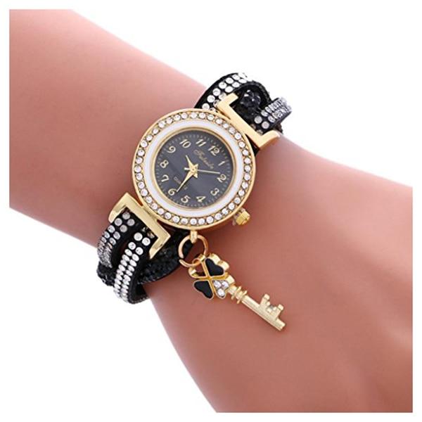 FULAIDA Для женщин Мода Обёрточная бумага вокруг замка Diamond корейский бархат браслет наручные часы