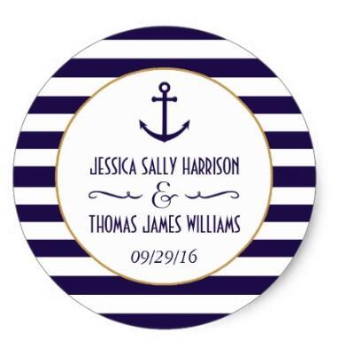 1 5inch Nautical Navy White Stripe Anchor font b Wedding b font font b Favor b