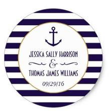 1.5inch Nautical Navy & White Stripe Anchor Wedding Favor Classic Round Sticker