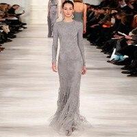 Vestido De Fiesta 2016 Runway Fashion Grey Elegant Lace Long Sleeve Evening Dresses Arabic Style Special