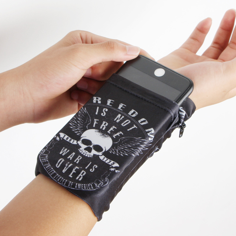 Pouch Wristband Skull-Card-Holder Phone-Band-Bag Pocket Multifunctional Travel Wrist-Support
