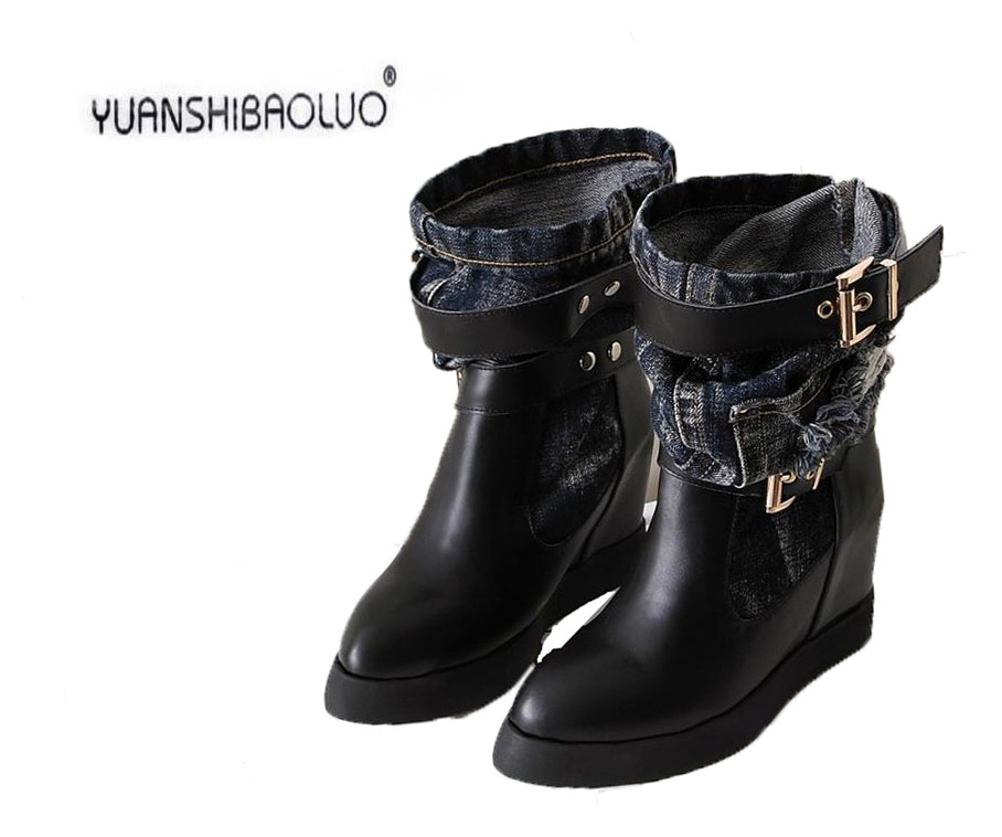 ФОТО 2016 winter boots Denim wash water and increased within the head layer cowhide boots Martin boots, fashion leisure