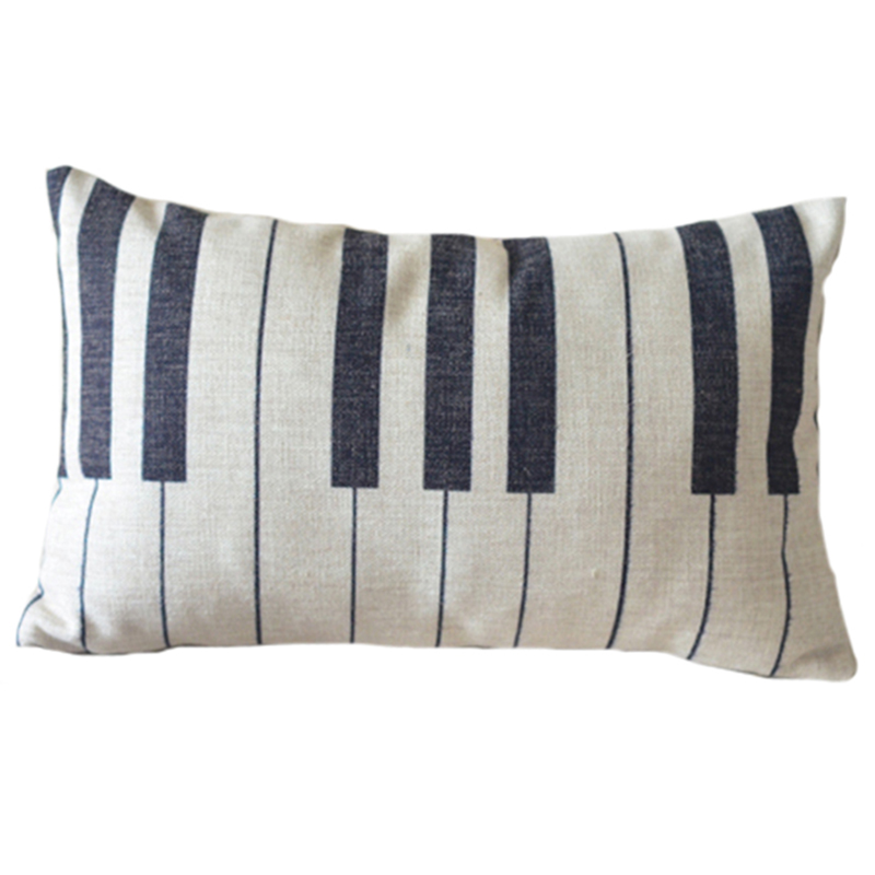 nordic piano keyboard black and white lumbar cushion cover linen piano keys throw pillows case. Black Bedroom Furniture Sets. Home Design Ideas