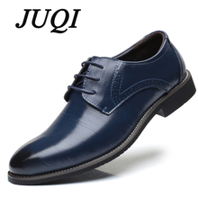 JUQI Men Genuine Leather Dress Shoes Business Lace-up Pointed Toe Oxford Wedding Big Size 38-48