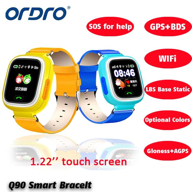 imágenes para Q90 liberan el Envío GPS de Posicionamiento Del Teléfono Niños La Moda Del Reloj de 1.22 Pulgadas Color de la Pantalla Táctil WIFI SOS Reloj Inteligente PK Q80 Q50 Q60