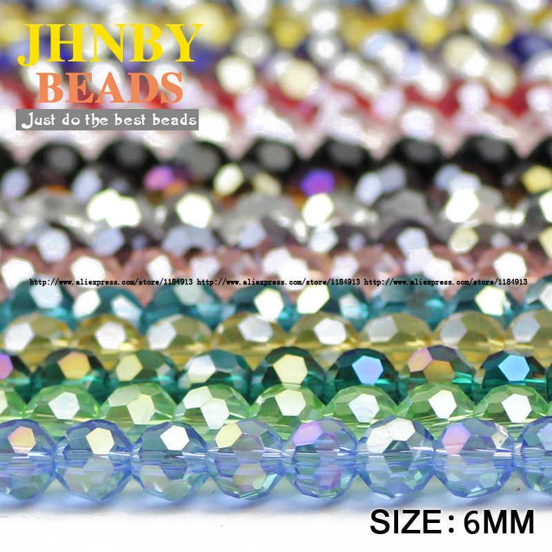 Jhnby Sepak Bola Segi Austria Kristal Manik-manik 50 Pcs 6 Mm Bulat Bola Bola Kaca Longgar Manik-manik Buatan Tangan Perhiasan Gelang Membuat DIY