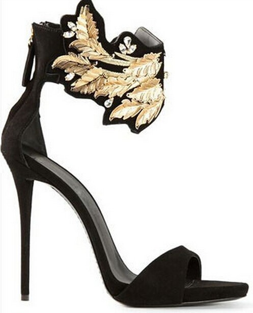 48daae25c2 US $73.45 |Hot Selling Black Suede Leather Gold Jeweled Metallic Sandals  High Heel Cut out Gold Metal Leaves Dress Shoes Women Size 34 41-in Women's  ...