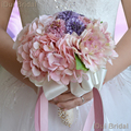 Pink Purple Flower Bridal Bouquet with Crystal Rhinestone Handle Wedding Guest Hand Flower Maid of Honor flower ydrangea