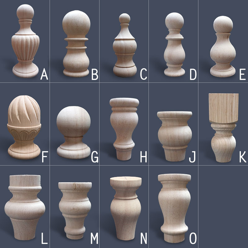 UNPAINTED UNFINISHED EUROPEAN SOLID WOOD FURNITURE HANDRAIL ARCHITECTURAL POST DECORATIVE END TIP FEET FINIAL