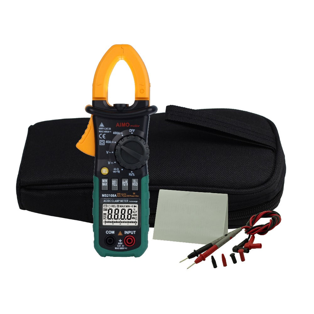 Aimometer MS2108A Digital LCD AC DC Current Clamp Meter Voltage Resistance Frequency Capacitance Meter fluke f302 1 6 lcd ac clamp meter yellow red 3 x aaa
