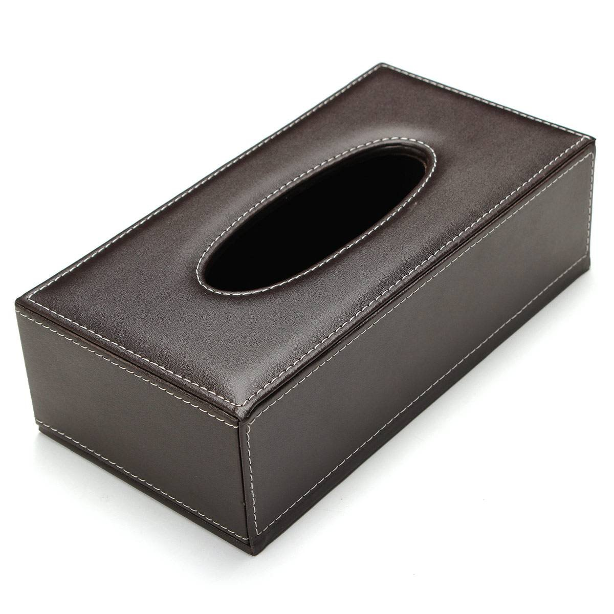 TOYL Portable Leather Rectangular Tissue Cover Box Holders Case Pumping Paper Hotel Home Car Gift Brown