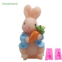 1Pcs Lovely Rabbit With Carrot Shape 3D Silicone Cake Mold For Cake Fondant Decorating Animal Shape