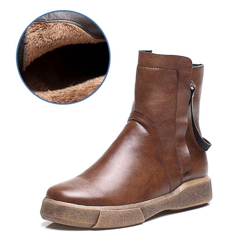 Fondo Zapatos Retro Mujeres Cotton Botas Cotton De Invierno Black Salvajes black Casual Terciopelo Genuino Plano Británico Plus Nuevo Cálido Algodón Viento brown Single 2018 Cuero qR7tanzxR