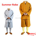 Summer 2 colors Shaolin Temple costume Zen Buddhist Robe Lay Monk Meditation Gown Kung fu Training Uniform Monk clothes Suit