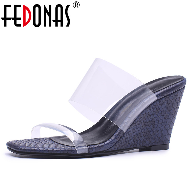 FEDONAS Brand Women Wesges Heeled Summer Shoes Woman Rome Style Comfort PVC Fashion Quality Slippers Female New Sandals Women fedonas brand women summer gladiator low heeled sandals fashion comfort slippers genuine leather elegant shoes woman sandals
