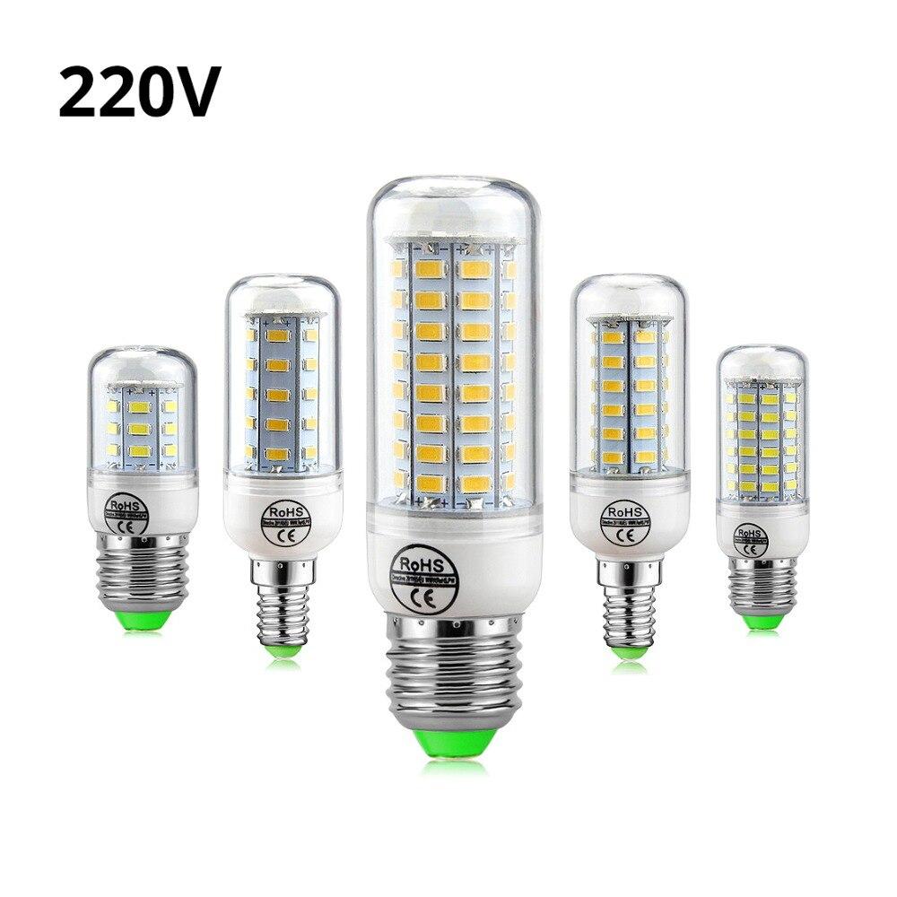 1 piezas 2018 nueva lámpara LED E27 E14 3 W 5 W 7 W 12 W 15 W 18 w 20 W 25 W SMD 5730 bombilla de maíz 220 V lámpara LED vela luz LED