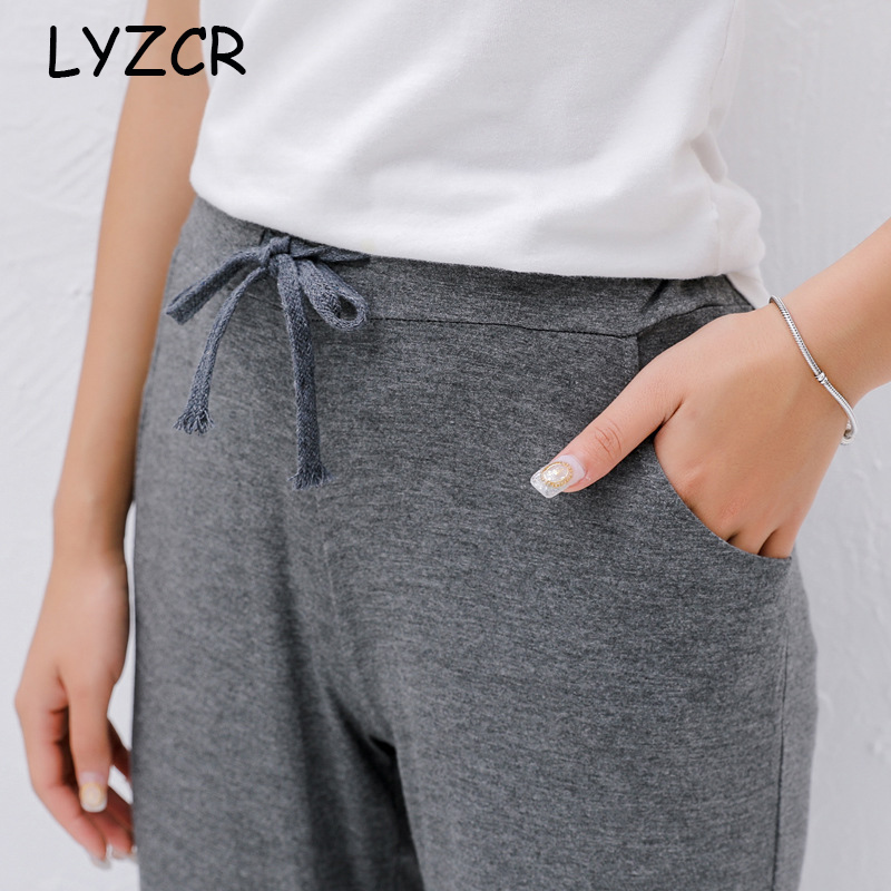 Women?s Summer Loose Pants for Women High Waist Slim Sport Classic Pants Women Elastic Waist Trousers Female