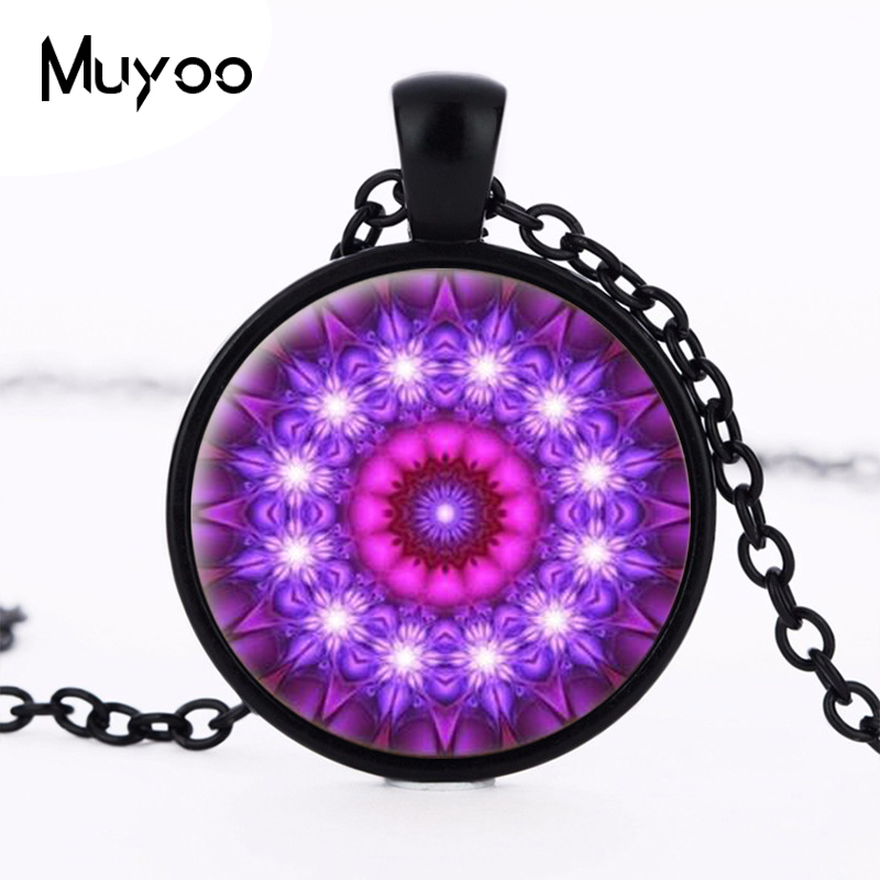 2016 Colorful Henna yoga pendant necklaces and glass cabochon statement  necklace jewelry mandala om symbol Zen Buddhism