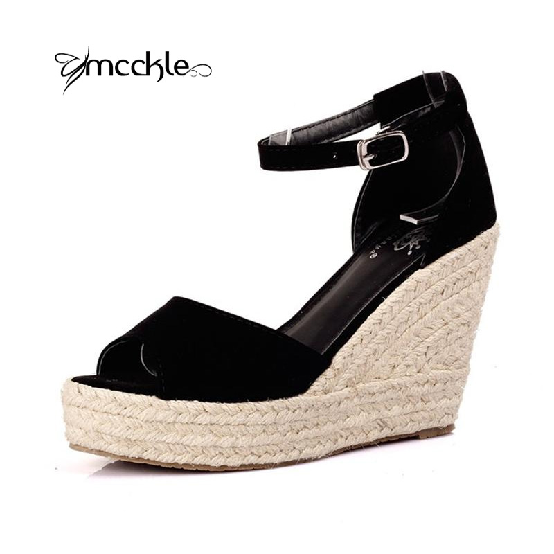 MCCKLE Women's High Heels Wedges Sandals Mary Jane Ankle Strap Cow Muscle Suede Open Toe New Fashion Casual Adult Shoes Woman