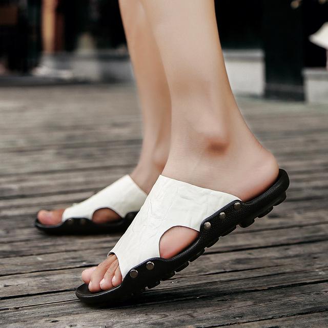 M-anxiu 2018 Summer Fashion Slip-on Out-door Beach Breathable Sandal Men TPR Sole Peep-toe Antiskid Leisure Slippers