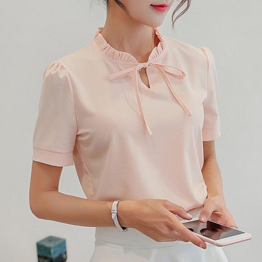 新しい女性半袖カジュアルシフォンブラウスファッション韓国エレガントな女性の服ストリート夏 2019 女性ブルーシャツ