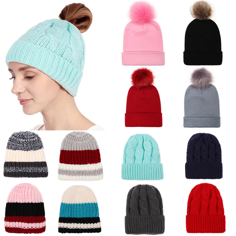New Women Winter Hat Pompoms Hats Thick Knitted Winter Beanies Fashion Beanies Skullies Womens Gift Hat