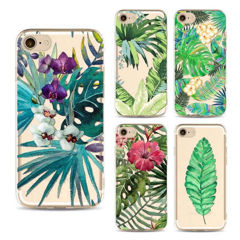 Зеленый лист телефон Чехол для iPhone 6 <font><b>6S</b></font> 6 Plus 7 7 плюс мягкий Fundas ясно ТПУ кремния ультра- тонкие листья завод для iphone чехол